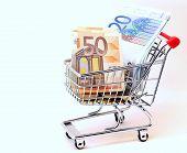 Shopping Cart Full Of Euro Banknotes