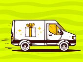 Illustration Of Van Free And Fast Delivering Gift Box To Customer On Green Background.