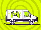 Illustration Of Van Free And Fast Delivering Joystick To Customer On Green Background.