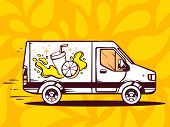 Illustration Of Van Free And Fast Delivering Fresh Fruit Juice To Customer On Yellow Pattern