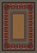 Vintage carpet with ethnic pattern