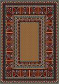 Vintage carpet with ethnic pattern