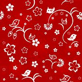 Seamless floral pattern with birds, white on red background