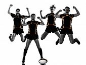 rugby women players team celebration in silhouette isolated on white backround