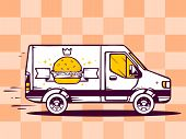 Illustration Of Van Free And Fast Delivering Burger With Crown To Customer On Pattern Backgro