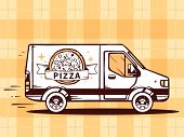 Illustration Of Van Free And Fast Delivering Pizza To Customer On Yellow Background.