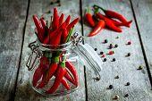 Red Hot Chili Pepper In A Glass Jar