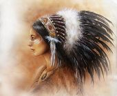 Sioux Young Indian Woman Wearing A Big Feather Headdress