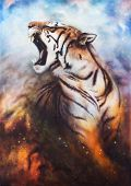 Beautiful Airbrush Painting Of A Roaring Tiger On A Abstract Cosmical Background