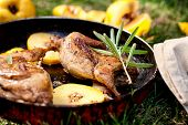 Roasted Quails With Quince