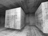 Abstract Dark Gray Concrete Room 3D Background Interior