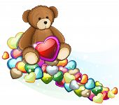 Brown Teddy Bear With Valentine Hearts