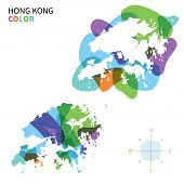 Abstract vector color map of Hong Kong with transparent paint effect.