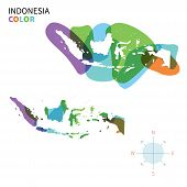 Abstract vector color map of Indonesia with transparent paint effect.