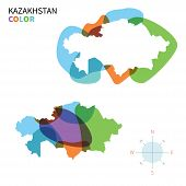Abstract vector color map of Kazakhstan with transparent paint effect.