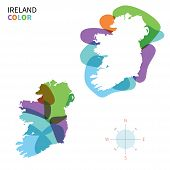 Abstract vector color map of Ireland with transparent paint effect.