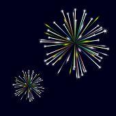 Colorful Shiny Fireworks On Black Background Eps10