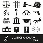 Justice And Law Black Icons Set Eps10