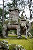 Elephant Statue Making Reference At Hannibal, Bomarzo, Italy
