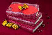 Two Hearts Lying On The Books With Roses And Coffee Beans