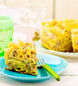 Macaroni Baked Pudding With Meat On A Plate.