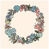 Round frame from garden elements, hand drawn