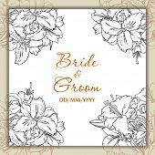 Wedding day card. Template. White lilies bouquets in card corners, text place in the middle. Outline drawing.