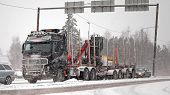 Volvo FH16 580 Logging Truck In Snowfall