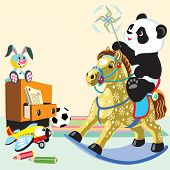 cartoon panda riding a rocking horse