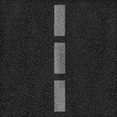 Asphalt road background with dashed line. Texture, pattern