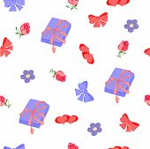 A repeating pattern of flowers, hearts, ribbons and gifts.