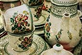 Old Photo With Ancient Pottery