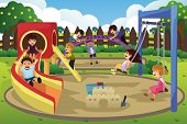 stock photo of playground  - A vector illustration of children playing in the playground - JPG