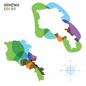 Abstract vector color map of Armenia with transparent paint effect.