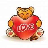 Tiger hugging a heart