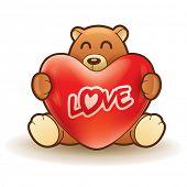 Teddy bear hugging a heart
