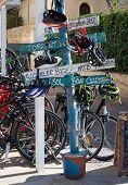 Signs By Bike Rental Agency In Port De Soller Mallorca