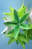 Closeup Of Big Star Shape Green Origami