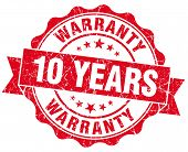 10 Years Warranty Red Vintage Isolated Seal