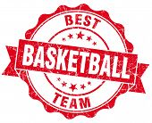 Basketball Red Vintage Isolated Seal