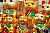 Cat Golden Lucky Cat Waving Left Paw Background