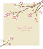 card with stylized cherry blossom and text - invitation for party or wedding