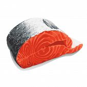 slice of salmon on white background