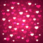 Pink Background With Blurry Hearts
