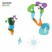 Abstract vector color map of Bahrain with transparent paint effect.