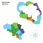 Abstract vector color map of Belgium with transparent paint effect.