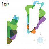 Abstract vector color map of Belize with transparent paint effect.