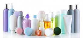 pic of cosmetic products  - Group of cosmetic bottles isolated on white - JPG