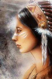 foto of airbrush  - airbrush painting of a young indian woman tribal - JPG