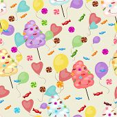 picture of lollipops  - Seamless pattern of sweets cotton candy lollipops balloons - JPG